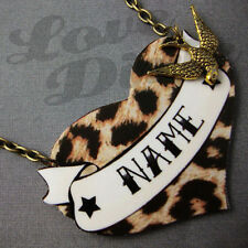Customised Leopard Print Heart Tattoo Kitsch Necklace Rockabilly