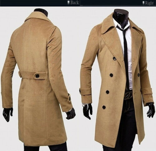 Men Double Breasted Trench Coat Long Jacket Overcoat Outwear Winter Peacoat Tops
