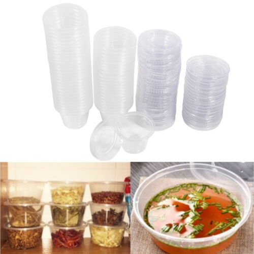 100x Disposable Plastic Condiment Sauce Chutney Cup Food Container Storage Box
