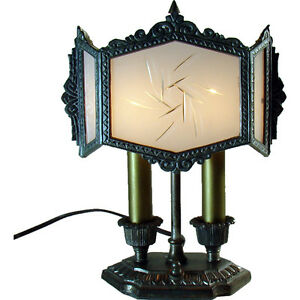 Silver-Plated-Desk-Lamp-with-Six-Panel-Cased-Glass-Shade-1920-039-s-Art-Deco