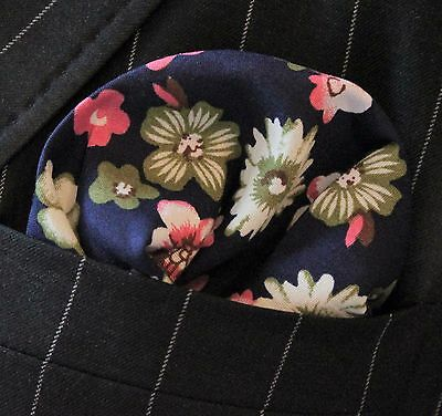 Hankie Pocket Square Cotton Handkerchief With Pink /& Green Floral UHO6