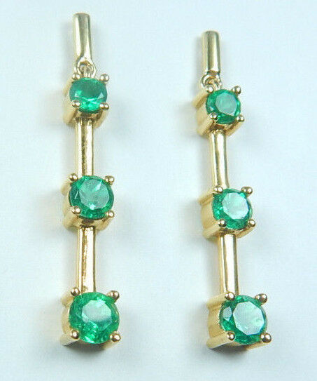 Colombian Emerald Earrings 1.63 TCW Round 18K Yellow gold Fine Jewelry Muzo
