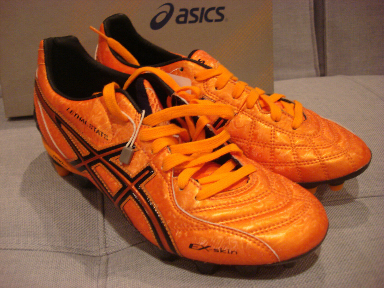 ASICS LETHAL STATS SK Soccer Football Orange Taille 7.5 chaussures noires-Neuf