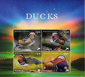 Tuvalu-2014-MNH-Ducks-4v-M-S-I-Birds-Mandarin-Duck-Stamps