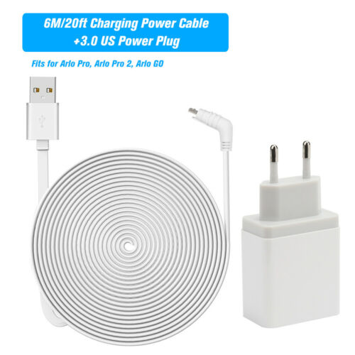 Micro USB 6M 20ft Alloy Charging Power Cable For Arlo Pro Arlo Pro2 Arlo GO Y9G8