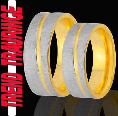 Energisch 2 Ringe Eheringe Trauringe Verlobungsringe Gold Platiert Gravur Gratis Te58 Wasserdicht, StoßFest Und Antimagnetisch
