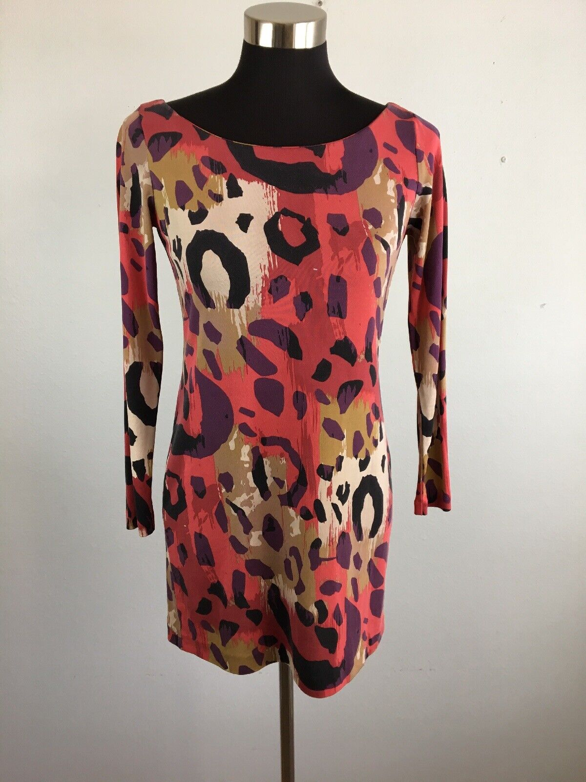 Diane Von Furstenberg damen Shift Dress 2 MultiFarbe Animal Print Silk Boat Neck