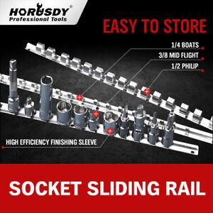 "3 Socket Holder Sliding Rail Tray Organizer 1/4"" 3/8"" 1/2""Mountable Steel Rack"