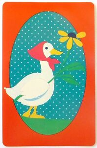 VINTAGE-SWAP-CARD-WHITE-GOOSE-WITH-FLOWER-ILLUSTRATION-c1950s-HOYLE-MINT-COND
