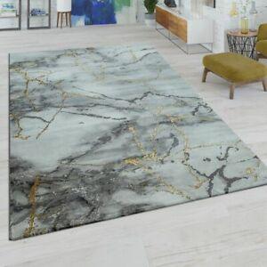 Details zu Kurzflor Wohnzimmer Teppich Modern Marmor Design Abstraktes  Muster Grau Gold