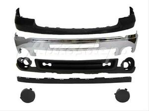 Bundle for 07-13 Sierra 1500 Front Bumper Chrome Bar Cap Valance W//Intake Hole GM1002834 GM1015100