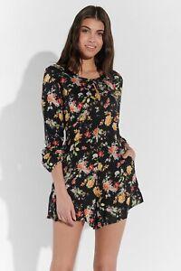 Vestino-Damen-Jumpsuit-Blumendruck-Kurz-Lange-Armel-Floral-Gebluemt-Sommer-Mode