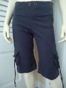 XCVI-Pants-XS-Dark-Gray-Cotton-spandex-Cropped-or-Long-Shorts-Ribbed-Knit-Waist