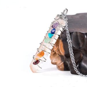 Natural-Reiki-Chakra-Healing-Rock-Crystal-Handmade-Wire-Wrapped-7-Chakra-Pendant