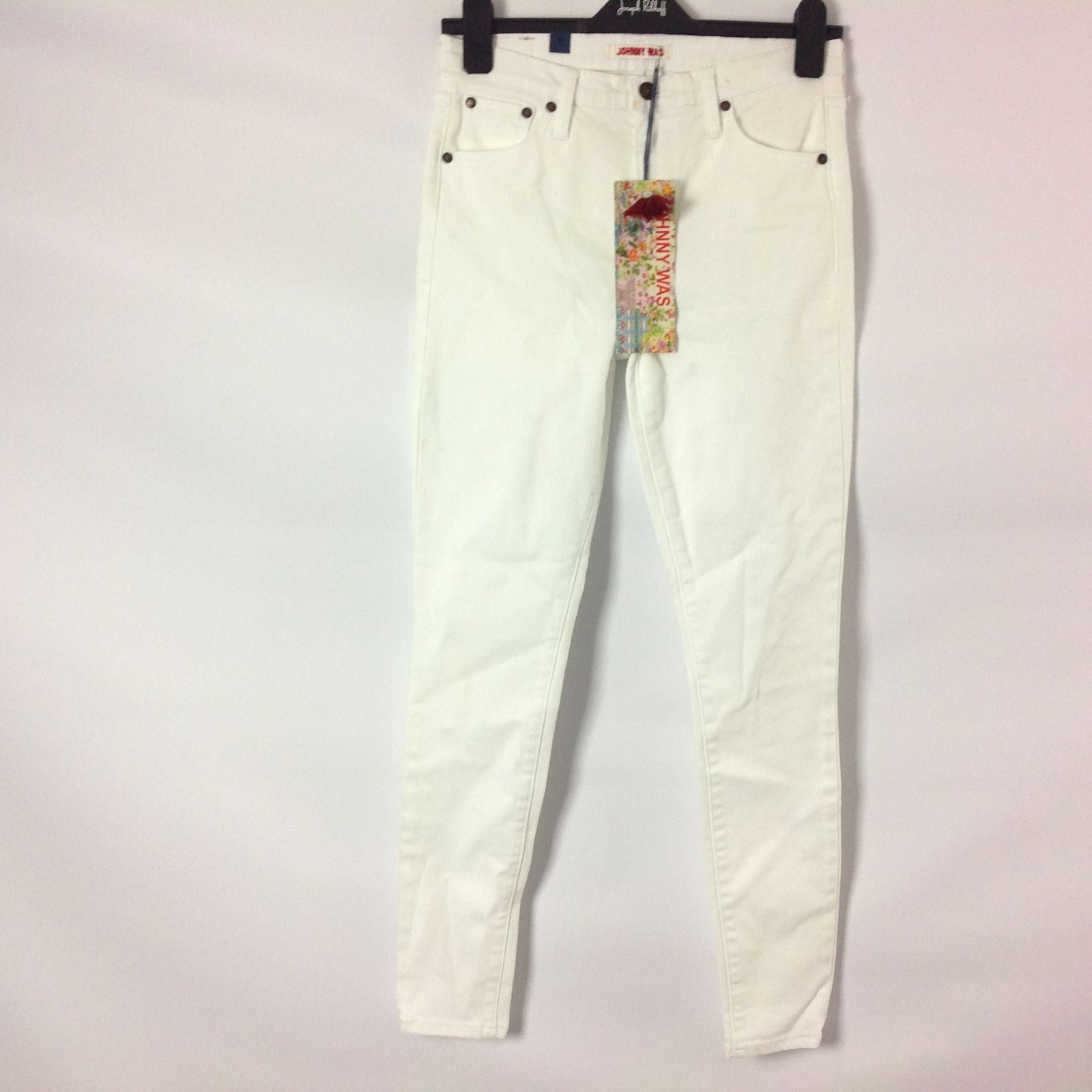 Johnny Was F23 Womens Jeans Cotton Blend Stretch Mid Rise Skinny White 25