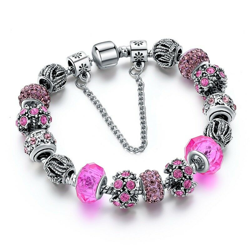 High Silver Pink Flower Murano Beads Charm Bracelets For Women Christmas Jewelry