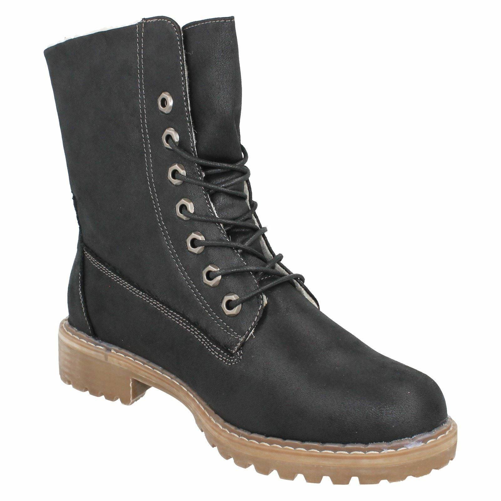 Ladies F5R0867 Lace Up fleace lined Boots By Down To Earth