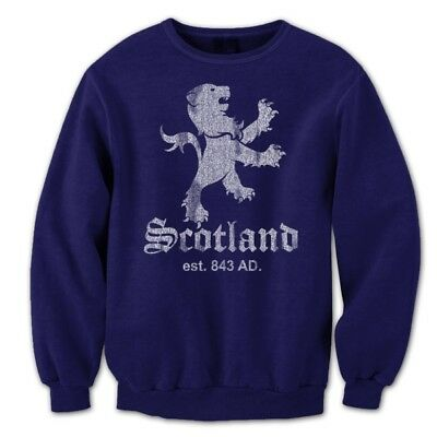 Scotland Lion Crest Est  Pride Flag Patch Scots Navy Crewneck Sweatshirt