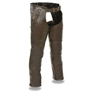 Milwaukee-Leather-Men-039-s-Retro-Brown-4-Pocket-Thermal-Lined-Biker-Chap-ML1191RT