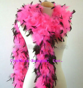 White with Black tips 65 Grams Chandelle Feather Boa Dance Party Halloween