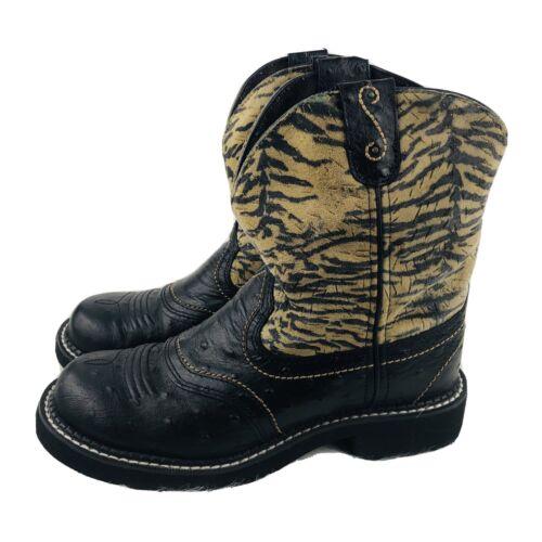 Justin Gypsy Ostrich Zebra Print Cowboy Boots 8 Wo