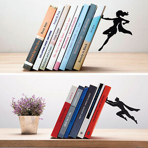 ARTORI-Design-Book-amp-Hero-Supergal-Bookend-Book-End-Stopper-Holder-Black-Metal