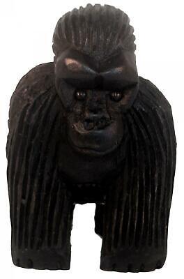 Ugandés Madera Montaña estatua tallada Gorilla Simios 16cm De Alto