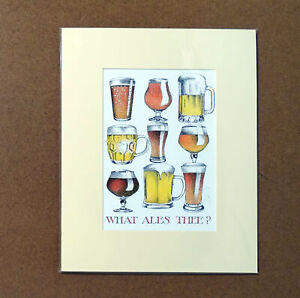 What Ales Thee Simon Drew Beer Print Mounted Drinking Humour Signed Art