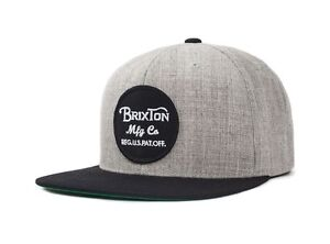 BRIXTON-WHEELER-SNAPBACK-CAP-LIGHT-HEATHER-GREY-BLACK