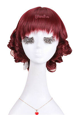 Lolita BOBO Wine Red Short Wave Curly Hair Party Anime Cosplay Full Wigs
