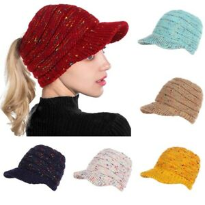ccae9173c95f4 Image is loading Women-Beanie-Ponytail-Hat-Knitted-Cap-Skull-Stretchy-
