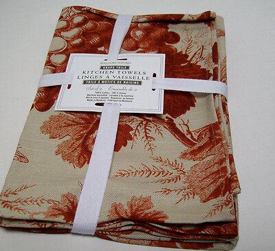 Williams Sonoma Brown Terra Cotta Grape Toile Kitchen Towels Set Of 2 Brand  New