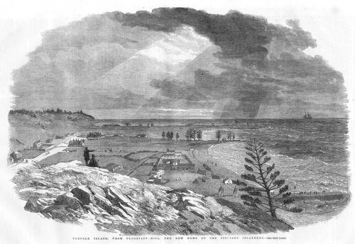 AUSTRALIA Norfolk Island Antique Print 1856 - Pitcairn Island Flagstaff Hill