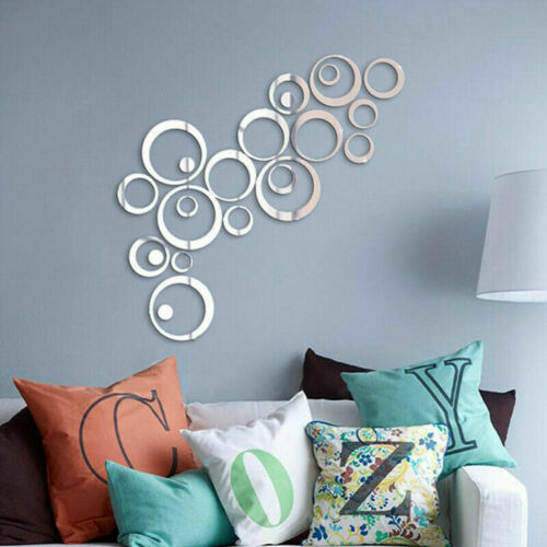 24Pcs 3D Circle Mirror Wall Sticker Removable Decal Acrylic Art Mural Home Decor