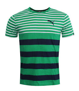 Puma-FUN-Dry-Striped-Mens-Tee-T-Shirt-Short-Sleeved-Top-Green-838853-09-RW47