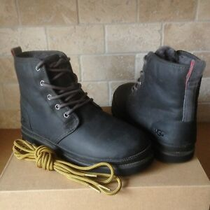 5d2b2c79386 Details about UGG Harkley Charcoal Waterproof Leather Chukka Laceup Boots  Shoes Size 10 Mens