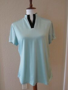 Jamie-Sadock-Golf-Top-short-sleeve-Aqua-Blue-with-Black-Medium