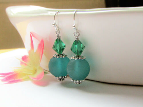 Details about  /SEA GLASS Frosted Round LT Blue SILVER Dangle French Hook Earrings USA HANDMADE