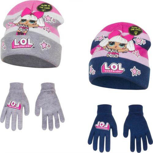 Official LOL Surprise Winter Hat Gloves  Glow In Dark 3 Pcs Set Kids Age 2-13 Y