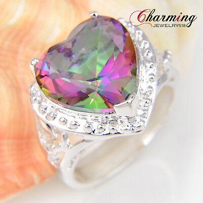 Special GIFT Love Heart Rainbow Fire Mystic Topaz Gemstone Silver Ring Sz 7 8 9