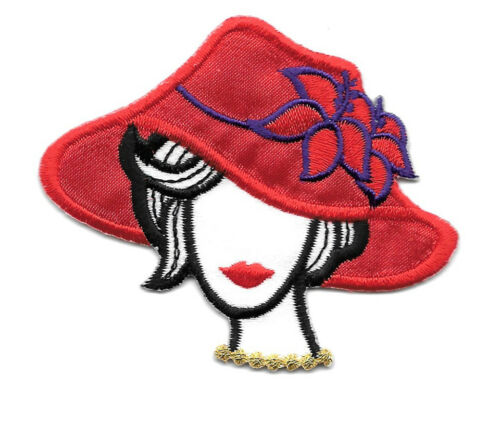 "Iron On Applique G Red Hat Lady - Chic  2 3//8/"" High"