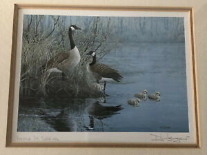 GEESE-IN-SPRING-SIGNED-PRINT-BY-CANADIAN-ARTIST-DON-LI-LEGER-1989-FRAMED