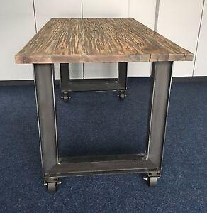 2 st ck tischbeine mit deko rollen stahl design tischkufen tischgestell ebay. Black Bedroom Furniture Sets. Home Design Ideas