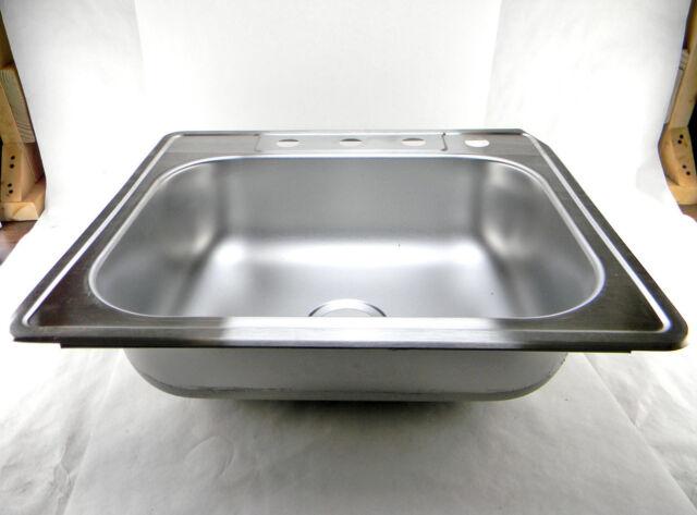 Elkay Neptune Top Mount Stainless Steel 25 4 Hole Single Bowl Kitchen Sink