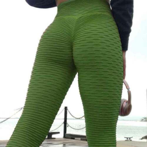 UK Women/'s Yoga Gym Anti-Cellulite Compression Leggings Butt Lifting Solid Pants