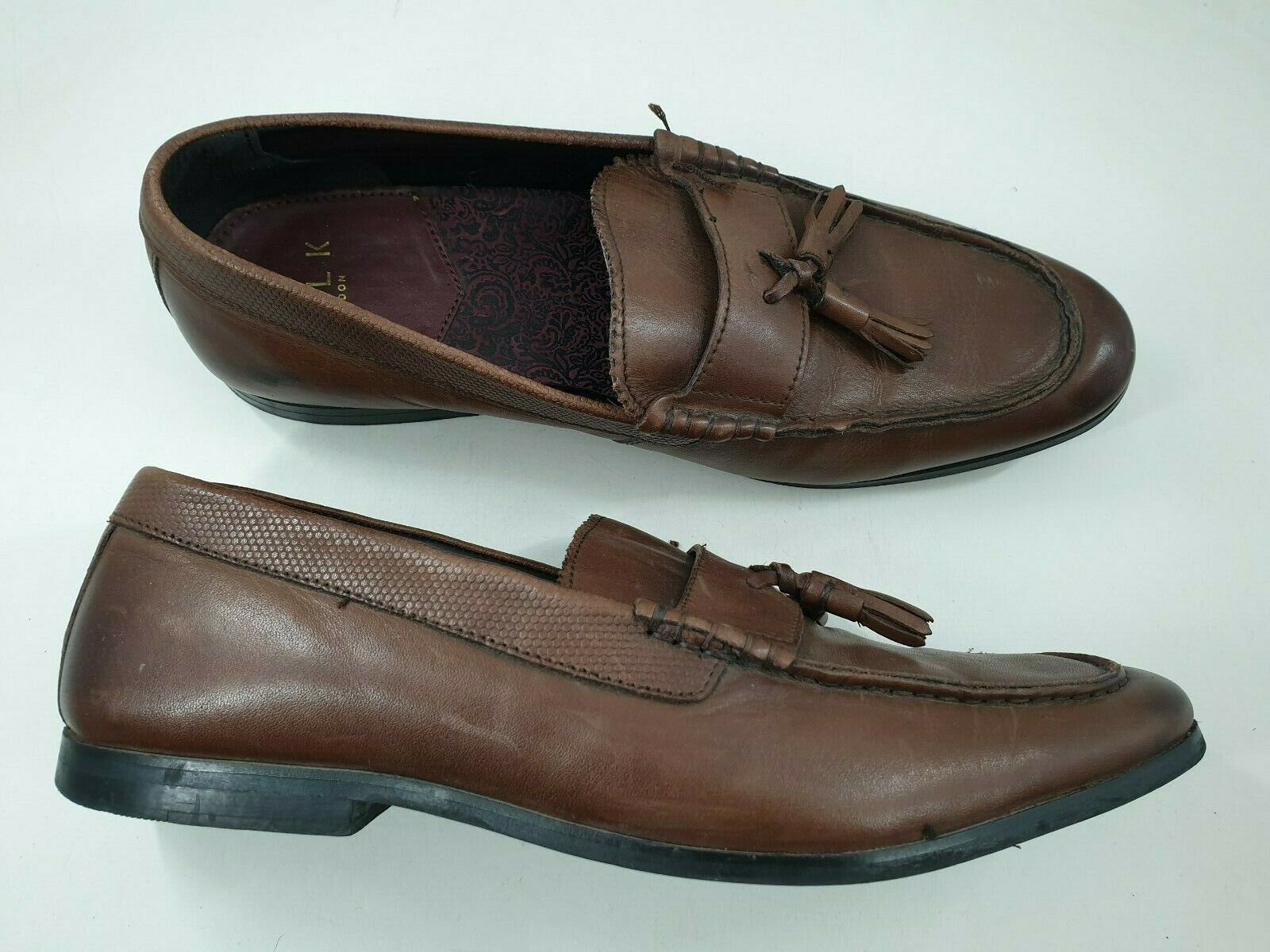 Walk London size 8 (42) tan brown leather slip on casual flat tasselled loafers