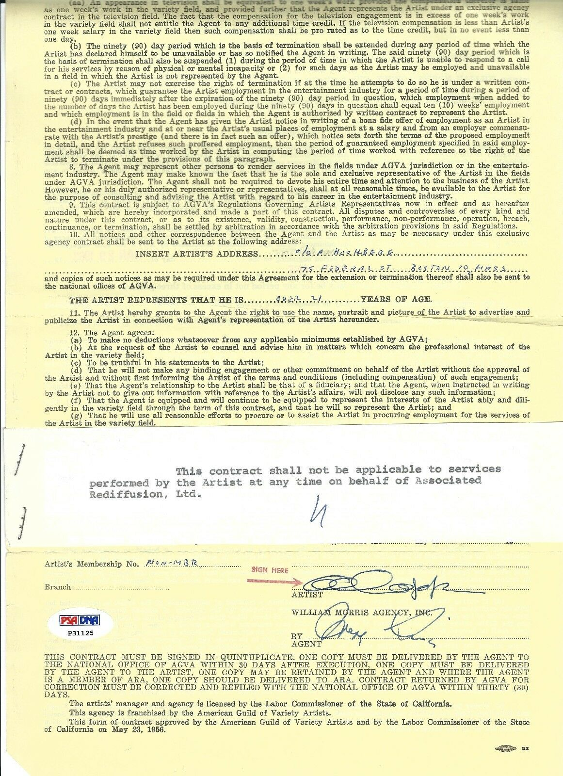 Al Capp Signed Exclusive William Morris Agency Contract Psa P31125