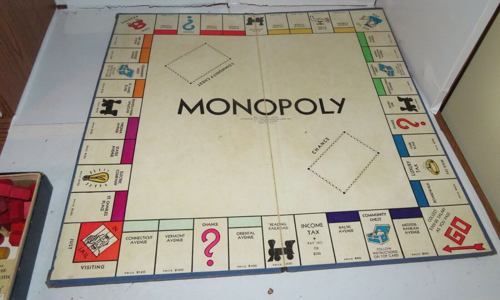 Vintage 1946 Monopoly Game Board & RARE Pawns Money Property Property Property Cards Wood Houses + 4d30b4