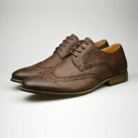 Mens Leather Shoes Brown Brogue Smart Lace Up Formal Dress Size Uk 6 7 8 9 10 11