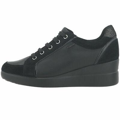 Dettagli su GEOX scarpa donna comoda allacciata sneakers invernale STARDUST black nero